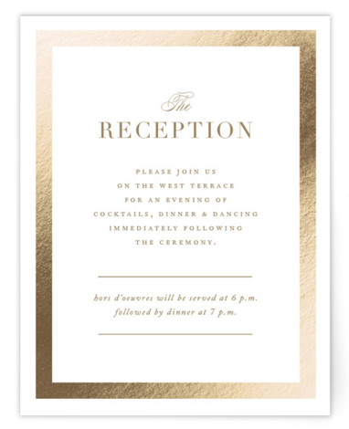This is a bold and typographic, gold, green Reception Cards by Jennifer Postorino called Deluxe with Foil Pressed printing on Signature in Card Flat Card format. A classic take on an elegant wedding invitation with a beautiful adorned edge.