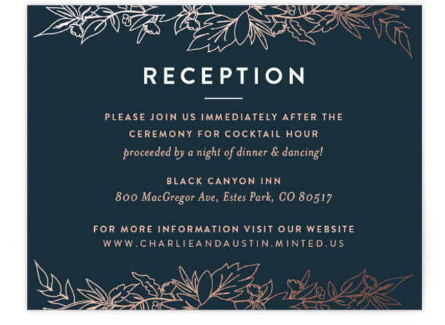 This is a landscape floral, metallic, modern, rustic, blue, rosegold Reception Cards by Carolyn Nicks called Delicate Botanicals with Foil Pressed printing on Signature in Card Flat Card format. Delicately foiled botanicals frame the sophisticated typography