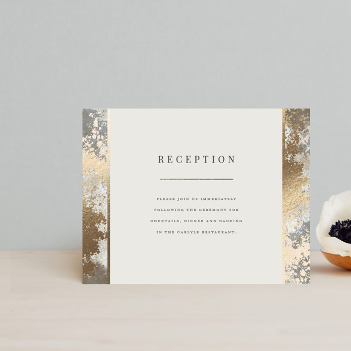 """""""Modern Glitz"""" - Bohemian Foil-pressed Reception Cards in Stone by Katherine Moynagh."""
