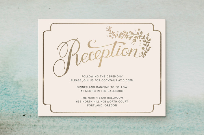 """Golden Grace"" - Rustic Foil-pressed Reception Cards in Eggshell by Sharon O.."