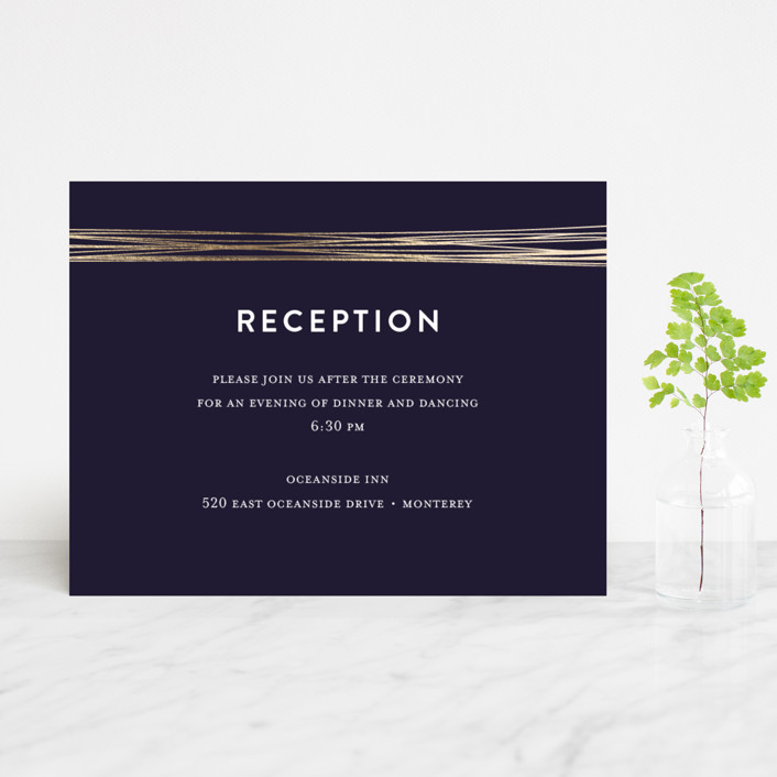 """Golden Threads"" - Foil-pressed Reception Cards in Night by Lisa Tamura Guerrero."