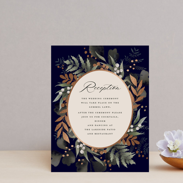 """""""wedding nosegay"""" - Foil-pressed Reception Cards in Marine by Chris Griffith."""