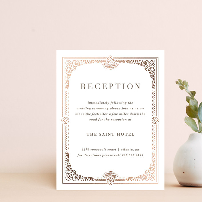 """Adorn"" - Vintage Foil-pressed Reception Cards in Chocolate by Kristen Smith."