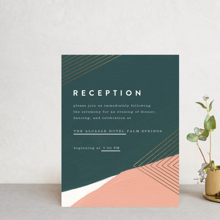 """""""Artful Oneness"""" - Foil-pressed Reception Cards in Cactus by Moglea."""