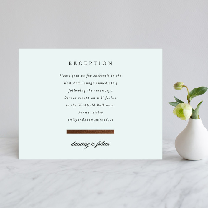 """Classic Bars"" - Foil-pressed Reception Cards in Sky by Kasia Labocki."