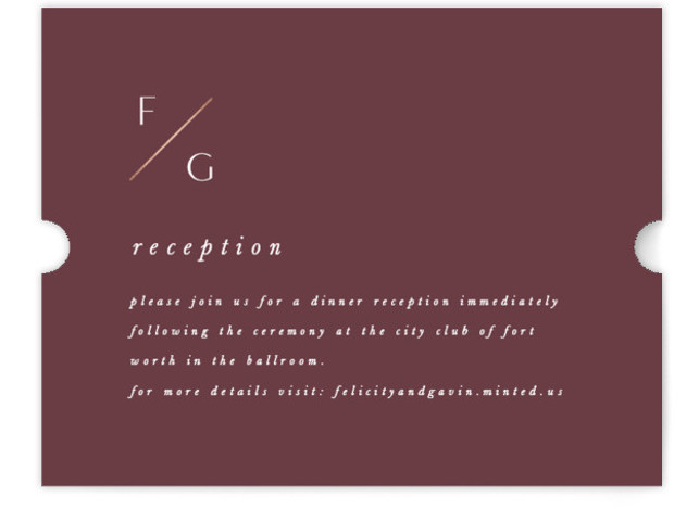 This is a portrait simple and minimalist, red Reception Cards by Amy Kross called The Bias with Foil Pressed printing on Signature in Card Flat Card format. This modern, minimal wedding invitation design features a clean and simple design.