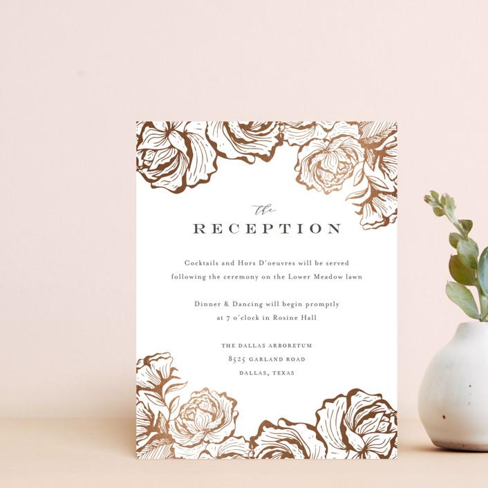 """Beautiful Bouquet"" - Rustic Foil-pressed Reception Cards in Slate by Jennifer Postorino."