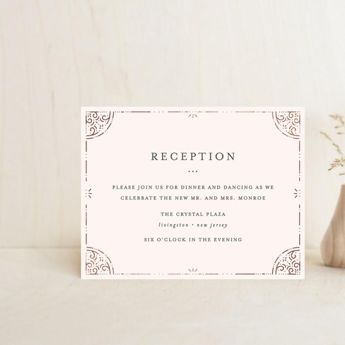 """Foil Frame"" - Foil-pressed Reception Cards in Rose Gold by Bethan."