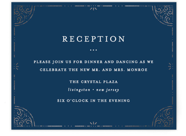 This is a blue, silver Reception Cards by Bethan called Foil Frame with Foil Pressed printing on Signature in Card Flat Card format. A timeless and elegant wedding invitation with a delicate hand drawn foil border.