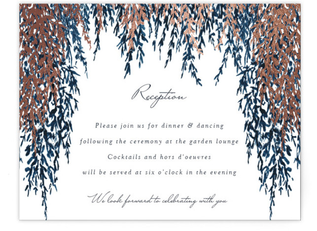 This is a blue, rosegold Reception Cards by Elly called In Love with Foil Pressed printing on Signature in Card Flat Card format. A bold and contemporary design with blue painted watercolour and gold foil for your wedding announcement