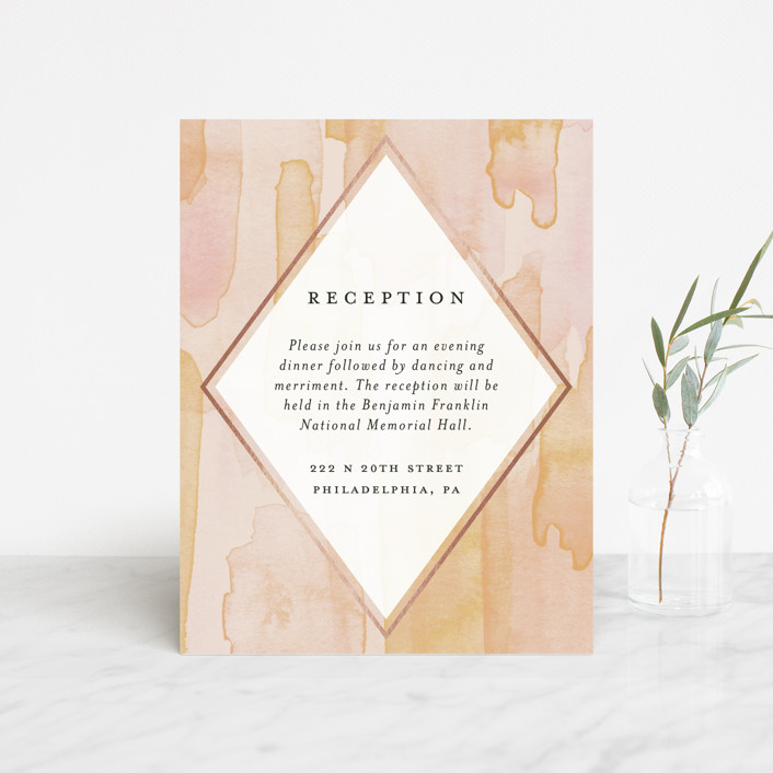 """""""Sunset Watercolor"""" - Foil-pressed Reception Cards in Sherbet by Everett Paper Goods."""