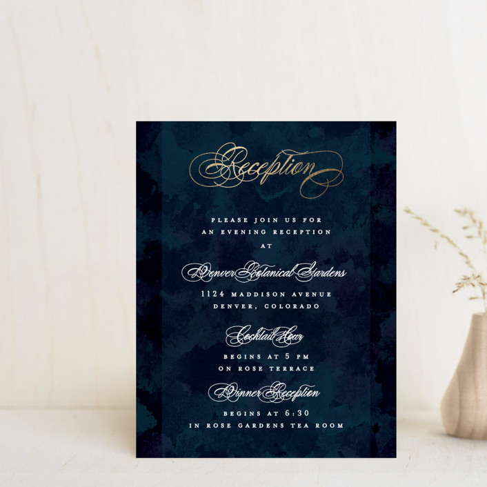 """""""Classic Affair"""" - Foil-pressed Reception Cards in Navy by Grace Kreinbrink."""