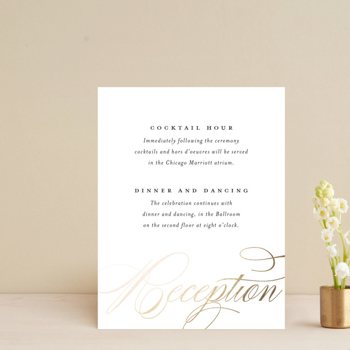 """""""clean and classic"""" - Foil-pressed Reception Cards in Ivory by Laura Hamm."""