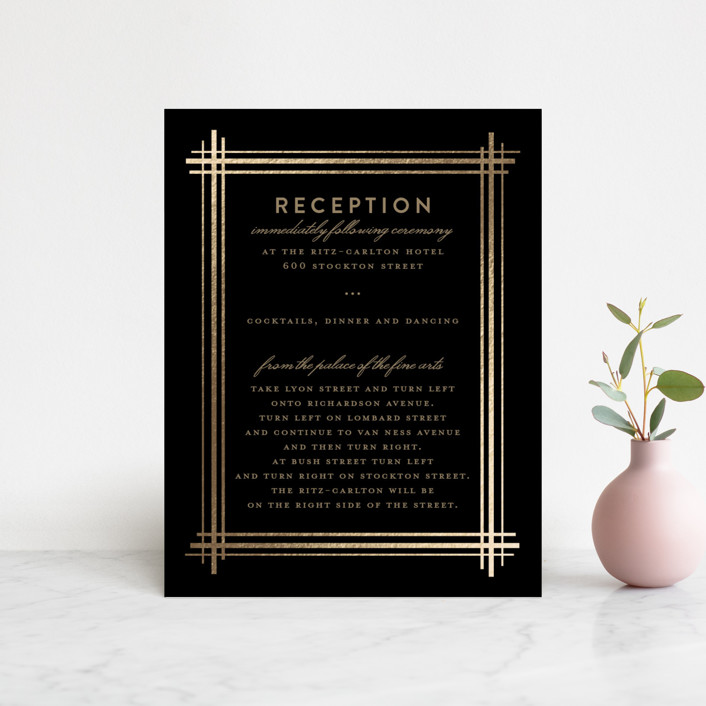 """Grand Affair"" - Modern Foil-pressed Reception Cards in Midnight by Three Kisses Studio."