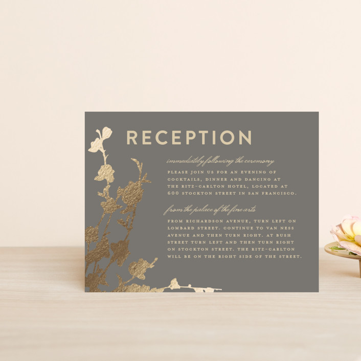 """In Bloom"" - Foil-pressed Reception Cards in Graphite by Three Kisses Studio."