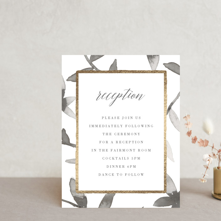 """""""Gilded Woodgrain"""" - Rustic Foil-pressed Reception Cards in Ice by Melanie Severin."""