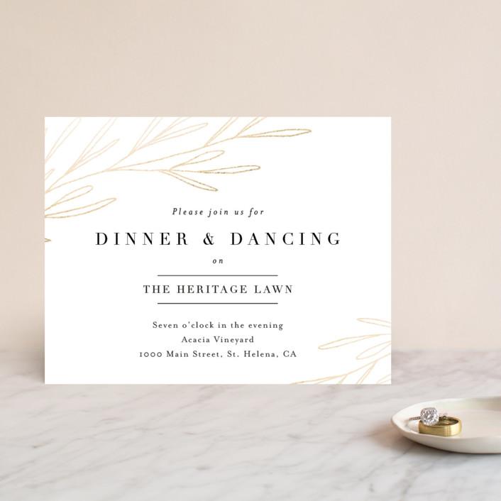 """""""Gilded Crest"""" - Foil-pressed Reception Cards in Gold Leaf by Kelly Schmidt."""