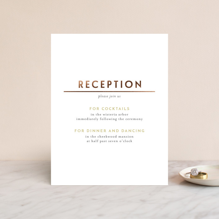 """""""Love Never Fails"""" - Foil-pressed Reception Cards in Buttercream by Heather Cairl."""
