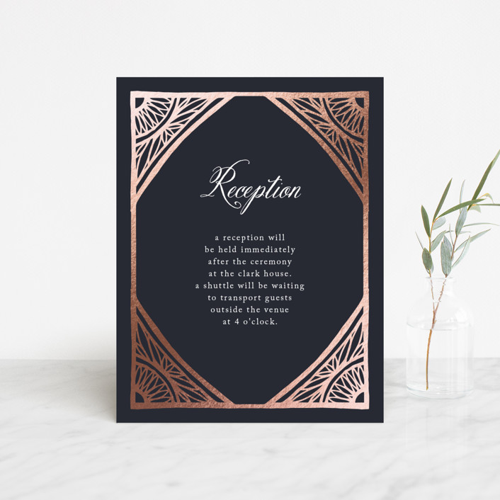 """""""Deco Corners"""" - Foil-pressed Reception Cards in Navy by Katharine Watson."""