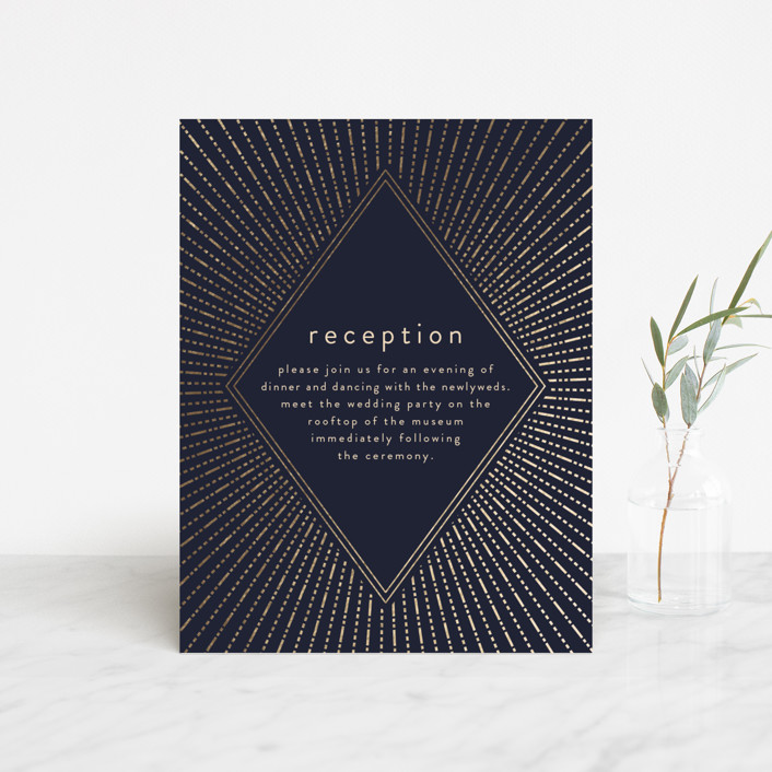 """Apache"" - Foil-pressed Reception Cards in Navy by Annie Montgomery."