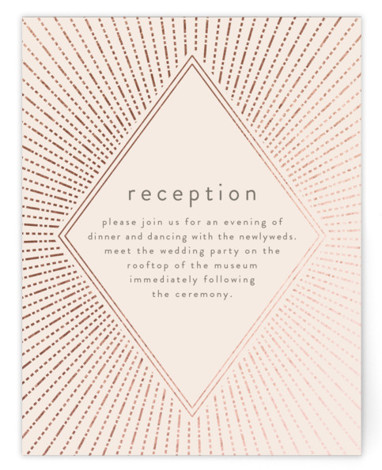 This is a pink, rosegold Reception Cards by Annie Montgomery called Apache with Foil Pressed printing on Signature in Card Flat Card format. This foiled wedding invitation features a bold, structural starburst as the frame to your big day details. ...
