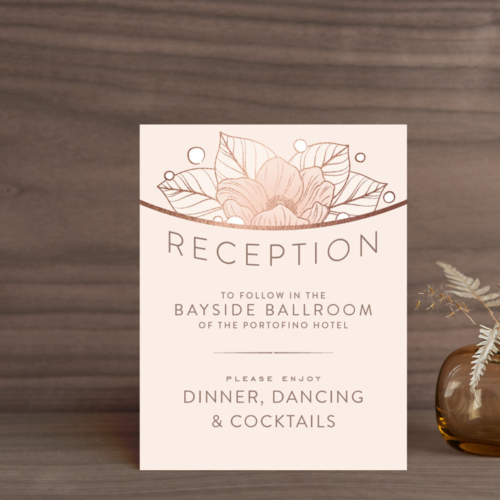 """Resplendent"" - Foil-pressed Reception Cards in Blush by GeekInk Design."