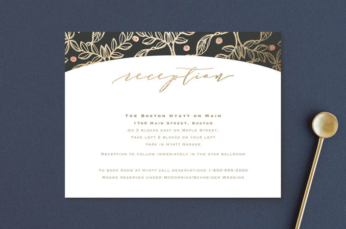 """""""Floral Sprigs"""" - Foil-pressed Reception Cards in Coral by CaroleeXpressions."""