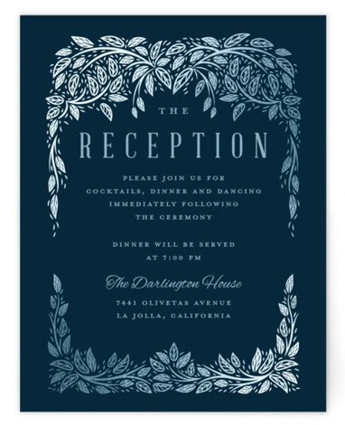 This is a blue Reception Cards by Paper Sun Studio called White Wedding Affair with Foil Pressed printing on Signature in Card Flat Card format. Pearl white foil of vines and leaves surround this white wedding invitation.