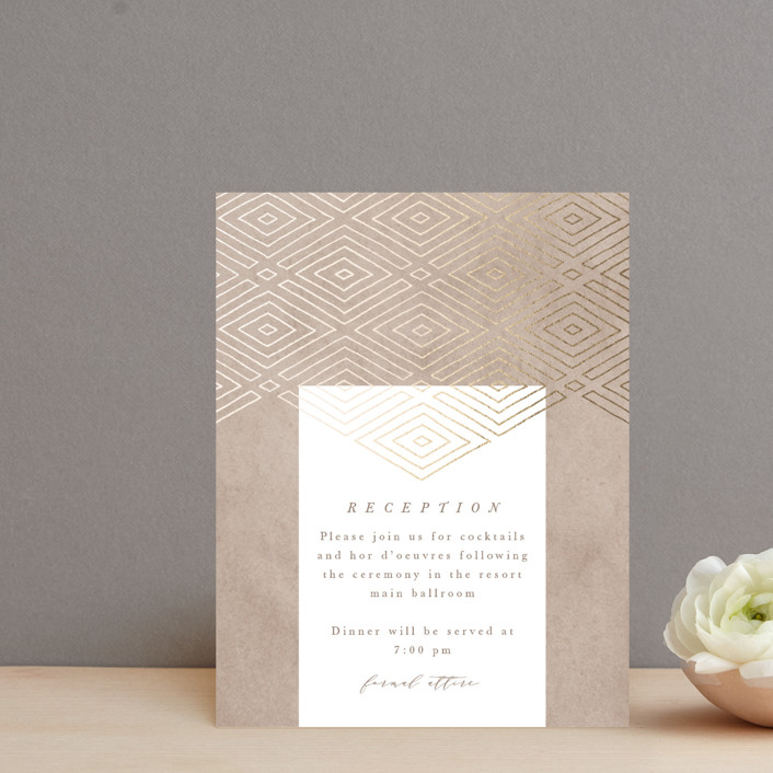 """Geometrica"" - Bohemian Foil-pressed Reception Cards in Sand by Owl and Toad."
