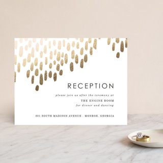 """""""Modern Dash"""" - Foil-pressed Reception Cards in Gold by Makewells."""