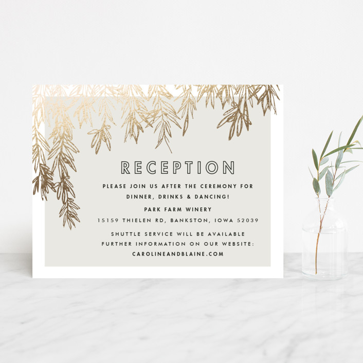 """Olive Branches"" - Rustic Foil-pressed Reception Cards in Gold by Carolyn Nicks."