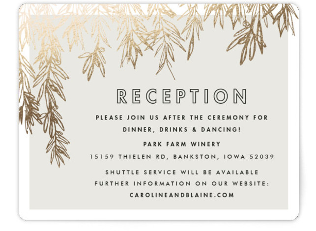 This is a landscape botanical, rustic, gold Reception Cards by Carolyn Nicks called Olive Branches with Foil Pressed printing on Signature in Card Flat Card format.