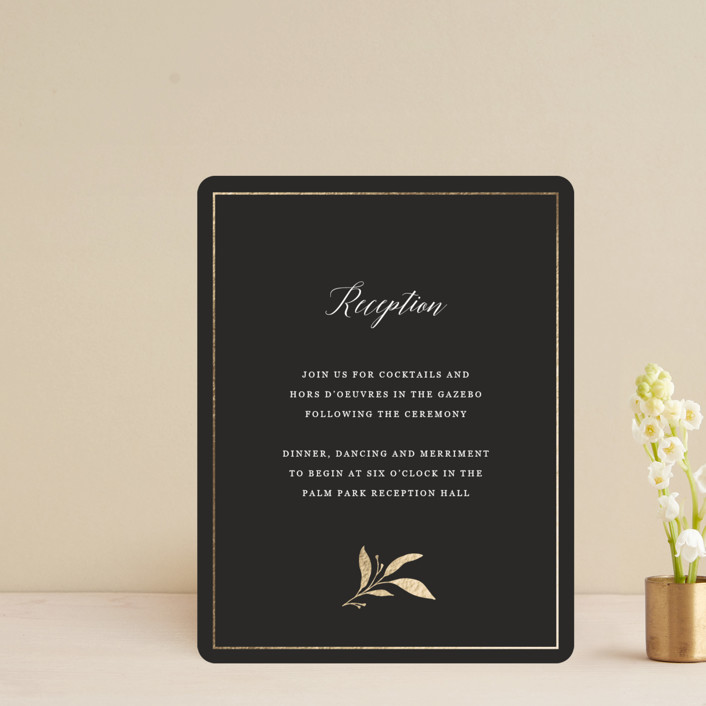 """Mod Wreath"" - Foil-pressed Reception Cards in Eclipse by Stellax Creative."