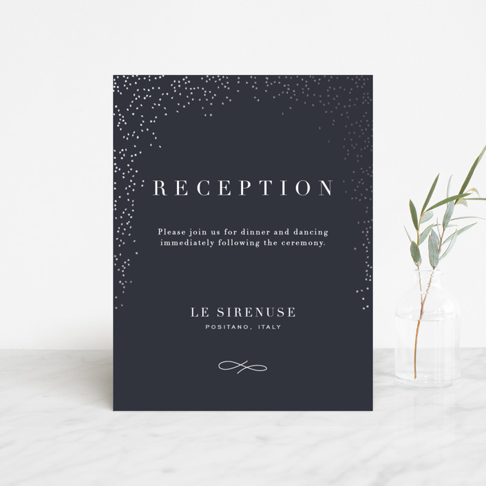 """""""Amazed"""" - Modern Foil-pressed Reception Cards in Obsidian by Design Lotus."""