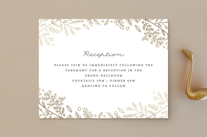 """Verdure"" - Foil-pressed Reception Cards in Gold by Bethan."