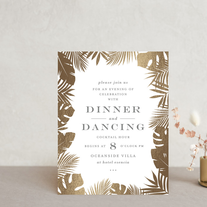 """""""Gilded Palm"""" - Foil-pressed Reception Cards in Gold by Lauren Chism."""