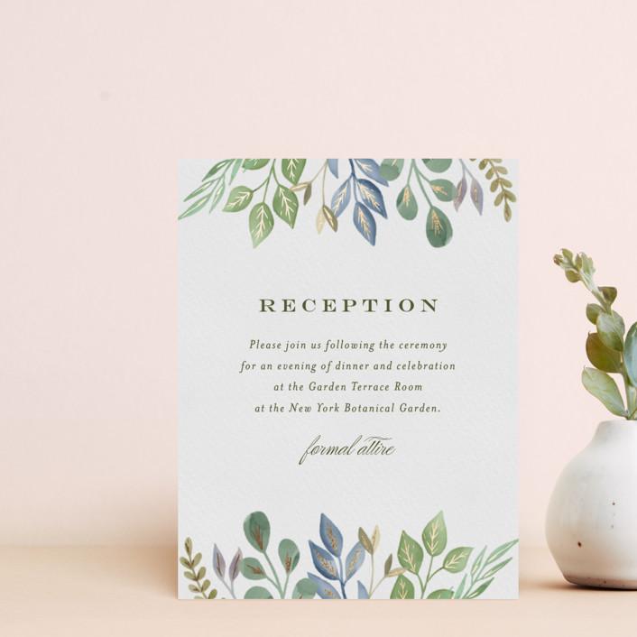 """Botanical Frame"" - Foil-pressed Reception Cards in Garden by Jana Volfova."