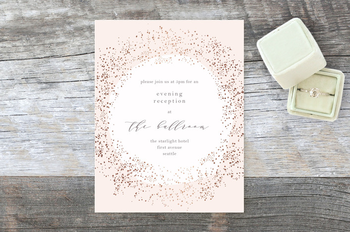"""""""Dreamy"""" - Bohemian Foil-pressed Reception Cards in Rose Gold by Phrosne Ras."""