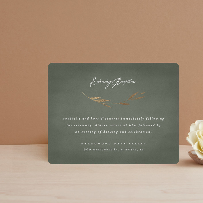 """""""Minimal Circle"""" - Foil-pressed Reception Cards in Moss by Kelly Schmidt."""