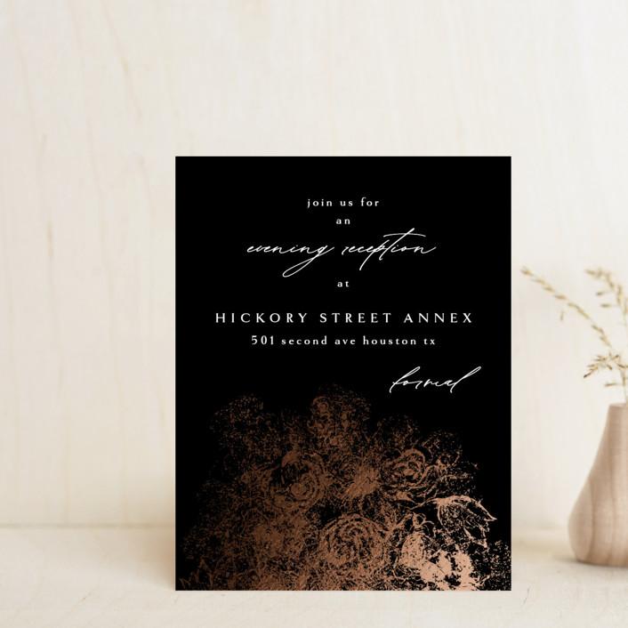 """fairytale dust"" - Foil-pressed Reception Cards in Midnight by Phrosne Ras."