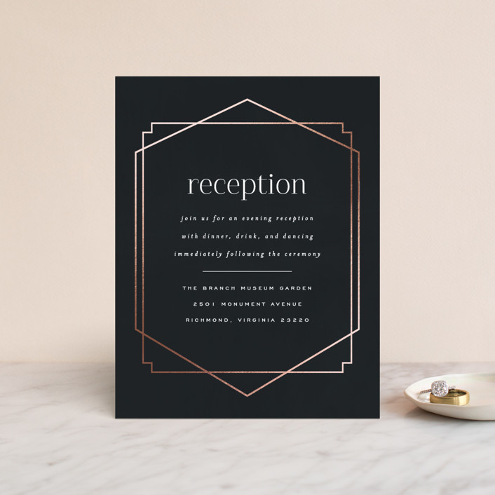 """""""Vision"""" - Modern Foil-pressed Reception Cards in Charcoal by carly reed walker."""