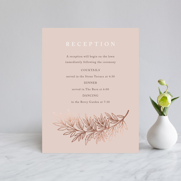 """""""Foiled Branches"""" - Foil-pressed Reception Cards in Poppy by Katharine Watson."""
