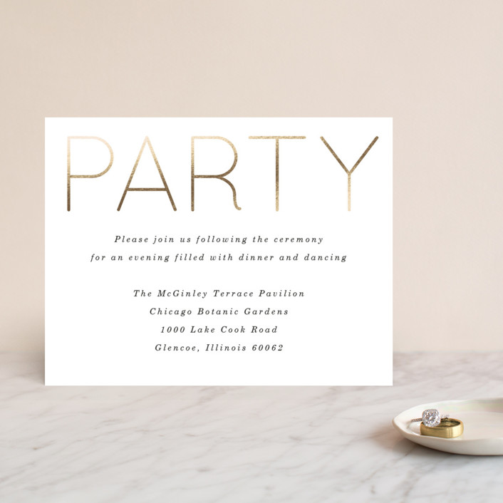"""Pencil Thin"" - Foil-pressed Reception Cards in Ivory by Baumbirdy."