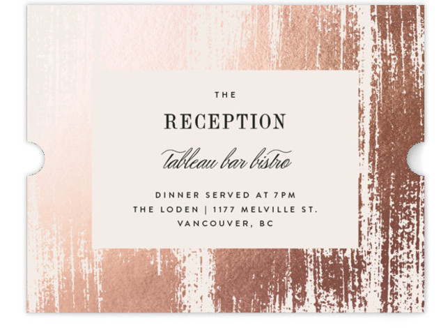This is a portrait modern, orange Reception Cards by Kelly Schmidt called Gold Leaf with Foil Pressed printing on Signature in Card Flat Card format. Painted gold brush strokes frame elegant type
