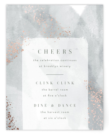 This is a portrait painterly, green Reception Cards by Kristie Kern called Zara with Foil Pressed printing on Signature in Card Flat Card format. A modern invitation featuring soft, abstract watercolor and delicate gold foil details.