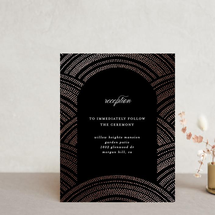 """Curvilinear"" - Vintage Foil-pressed Reception Cards in Midnight by Erica Krystek."
