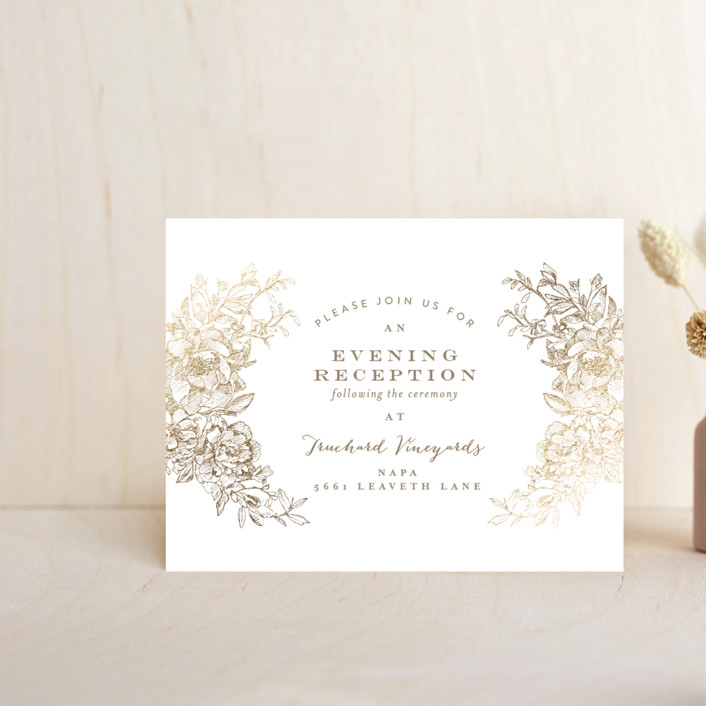 """Engraved Flowers"" - Foil-pressed Reception Cards in Gold by Phrosne Ras."