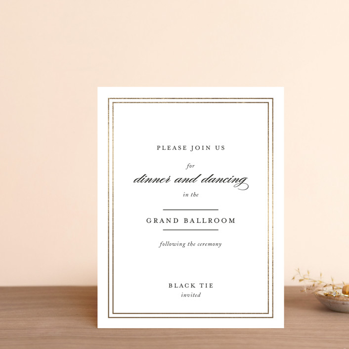 """Eloquence"" - Foil-pressed Reception Cards in Gold by Kimberly FitzSimons."