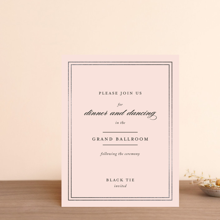 """""""Eloquence"""" - Foil-pressed Reception Cards in Gold by Kimberly FitzSimons."""