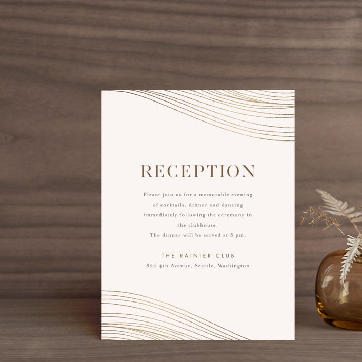 """""""Flowing Stripes"""" - Modern Foil-pressed Reception Cards in Pebble by Monika Drachal."""
